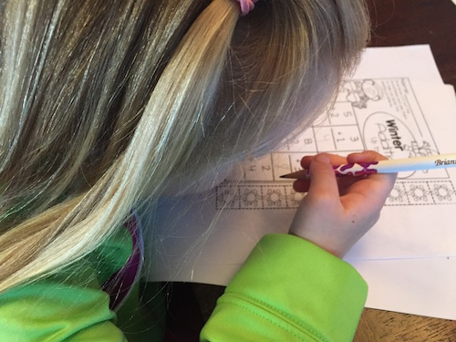Being able to do homework with our children - first grader and a pre-schooler.