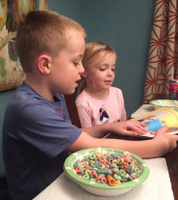 Isaac Reading to His Sister Anna in the morning.